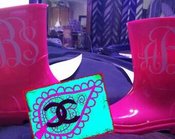 Monogrammed Rain Boots