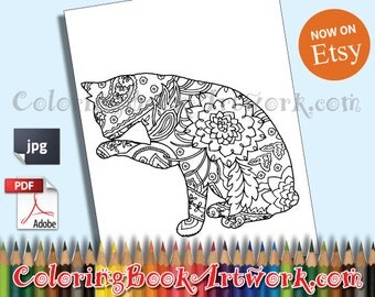 Cat Printable Adult Coloring Book Page instant downloadable JPG PDF colouring trendy instagram quirky illustration clip art digital