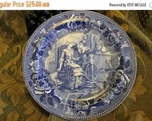 Fall CLEARANCE Sale Vintage Wedgwood Etruria Blue Transfer Collector Dinner Plate - Priscilla and John Alden