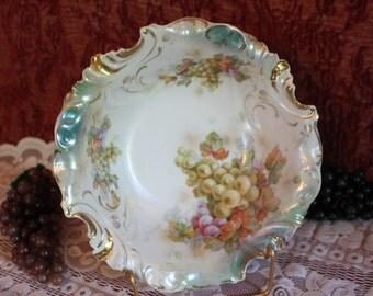 "Antique Bavarian German Porcelain 10.25"" Serving Bowl with Grape Motif and Impressed Rolled Rim"