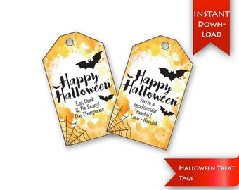 Halloween Treat Tags | Halloween Tags | Gift Tags | Halloween Favor Tags | Editable to add message & name{instant download}