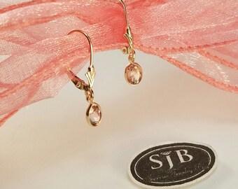 Pink Tourmaline Earrings, 14k Pink Tourmaline Dangle Earrings, 14k Yellow Gold Pink Tourmaline Leverback Earrings, October Birthstones #E996