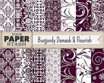 Damask Digital Paper, Burgundy, Wine, Maroon, Damask, Filigree, Flourish, Backgrounds, Digital Paper, Scrapbook Paper, Printable, Download
