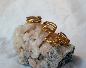 Brass Stackable Ring, Wrap Ring, Solid Brass Ring, Gold Ring, Layered Ring, Stacked Ring