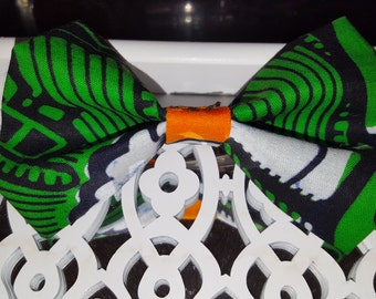 Green and orange hair bow