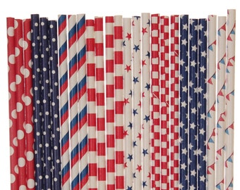 Paper Straw Mix, Patriotic Paper Straws, Red Navy Blue White Polka Dot Striped Stars Checkered Pennant Banner, 4th of July, Memorial Dy BBQ