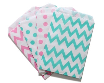Party Favor Bag, Paper Favor Bags, Pink and Aqua Polka Dot Chevron Paper Favor Bags, Baby Shower Favors, 1st Birthday Favor Bags, Sweet 16
