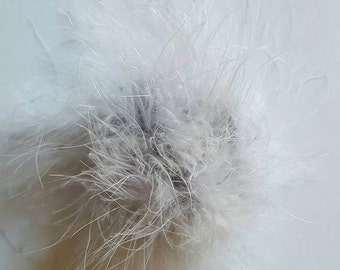 Gray marabou puff feather hairbows Grey marabou puff hairbow supplies feather puff