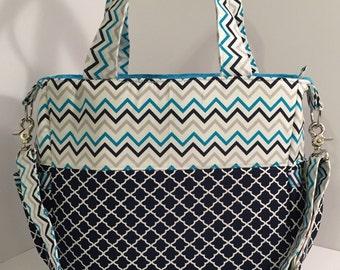 REDUCED PRICE Blue Quatrefoil and Chevron Diaper Bag