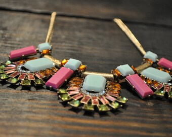 Bib Necklace, Geometric Necklace, Colorful Necklace, Unique, Chunky Necklace, Statement Necklace, Modern, Gold Tone Chain, Trendy Necklace