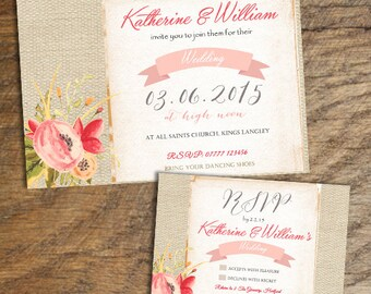 Coral & Hessian style Wedding Invitations, RSVPs or Poems - x 10