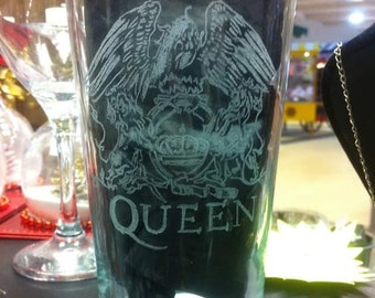 Queen Album Cover, Hand Engraved Pint Glass