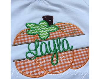 Pumpkin Fall Applique and Monogrammed Shirt
