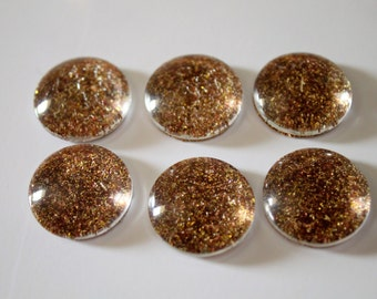 FREE SHIPPING AUS - Gold Glitter Glass Magnets - 6 Piece Magnet Set - Super Strong