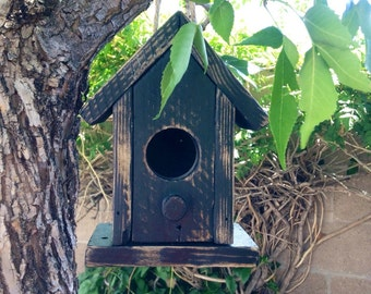 Rustic Birdhouse Decorative Wooden Birdhouse Garden or Home Decor Weathered Wood Birdhouse