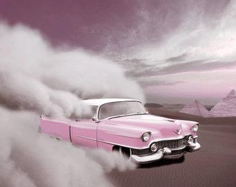 pink retro car
