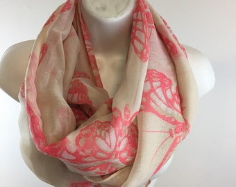 Large Pink Butterfly Scarf Shawl Wrap