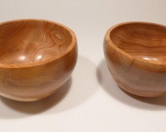 Matching pair of Yew Bowls