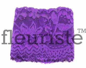 Elastic Lace, Lace Ribbon, Stretch Lace, Elastic Lace Trim, Lace by the yard, Lace Trim, Stretchy Lace, Lace Elastic, 2.25 inch, Purple