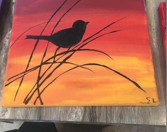 Hand Painted silhoutte bird  8 X 8