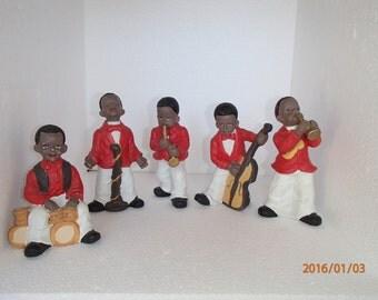 Vintage Handpainted 5 Piece  Jazz Band