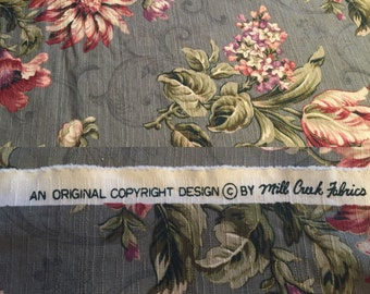 """Gorgeous vintage fabric. Screen Print by Mill Creek Fabrics  measure approx 50"""" x 52"""" never used!"""