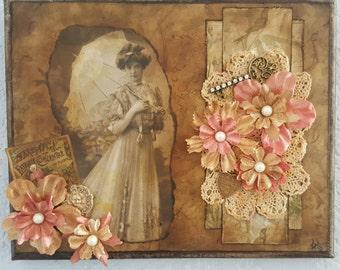 Vintage lady on canvas