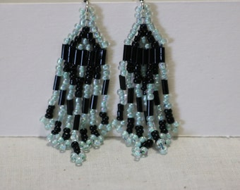 Hand stitched beaded earrings lt blue and black