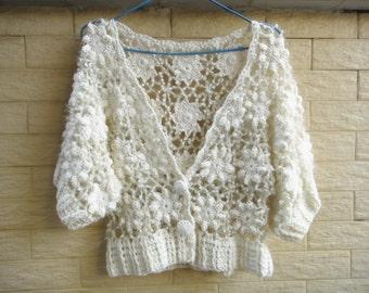 Crochet Cropped Sweater Cardigan Elbow Sleeve