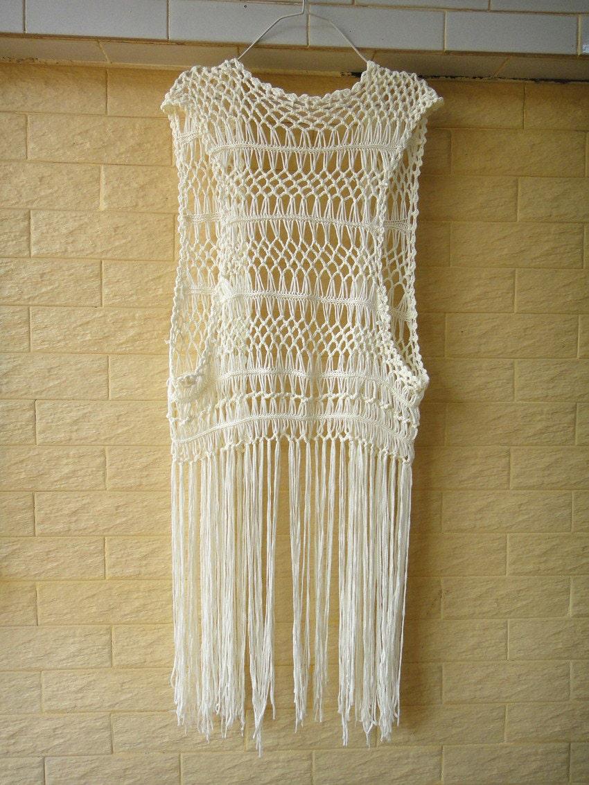 Hippie Long Fringe Beach Cover Up Crochet Vest By