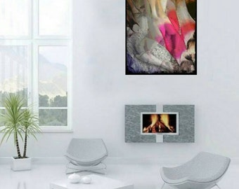 """Nude painting, Medium Wall Art up to 19x27"""", Large Abstract art pink"""