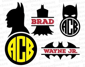 Bat Super Heroes SVG Files, Super Hero Cricut Cut File, Vinyl Cutters, Die Cut Machine, Silhouette Monogram, Design Space Instant Download