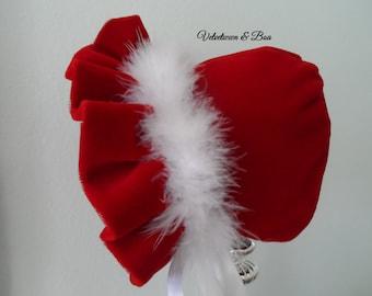 Velveteen & Boa, Baby Bonnet, Baby Hat, Girls Bonnet, Girls Hat, Christening Bonnet, Wedding Bonnet, Children Hats, Handmade Hats