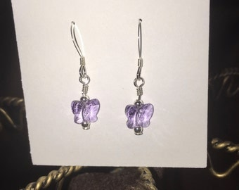 Sterling silver and Swarovski violet butterfly earrings
