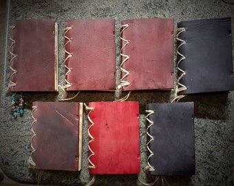 Hand bound leather pocket journal