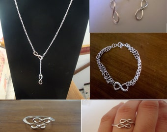 Adornment infinity Infinity more hand made new silver (necklace, bracelet, earrings and ring)