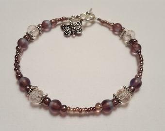 Amethyst Beaded Bracelet w/Butterfly Dangle Charm