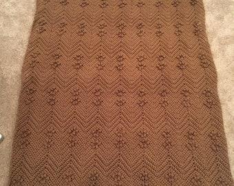 Brown Textured Afghan, Blanket, Bobbles