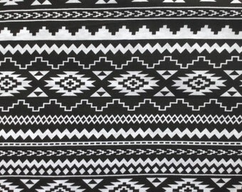 "KNIT Black and White Aztec Stripe Fabric- 100% Cotton- Apparel- 58"" width"