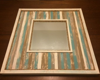Distressed Wood Mirror Decorative Wall Mirror Rustic Reclaimed Maple Wood Beveled Mirror