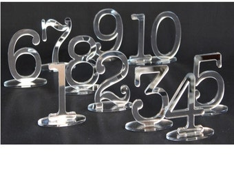 10cm Table Number SETS,Wedding,Party,Restaurant or Club-Table No's /1 Sided SILVER Mirror Freestanding  by VividLaser-A