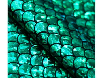 Mermaid Holo Shiny Metallic Nylon Spandex Lycra Fabric High Quality 4-Way Stretch Green Hologram Foil