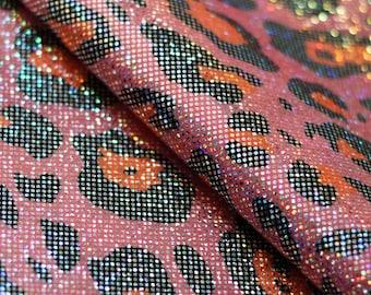 Iridescent Metallic Pink-Orange Leopard Print Spandex Polyester Lycra Fabric Foil Cheetah Shiny Wet Look