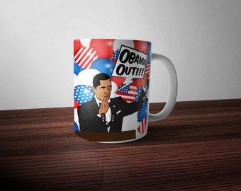 Obama Out Coffee Mug Funny Mugs #ObamaOut Barack Obama Mug Cheap Gifts Obama 2016 Correspondent's Dinner Custom Mugs Ceramic Drinking Mug