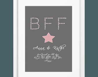 Personalized art print best friends wall picture