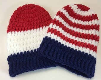 American Flag Inspired = Cast Sock = Red, White and Blue = Ready to ship.