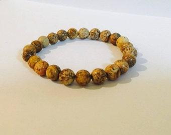 PICTURE JASPER Handmade Crystal Beaded Bracelet