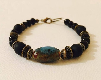 Hand Made Ceramic and Wooden Beaded Bracelet