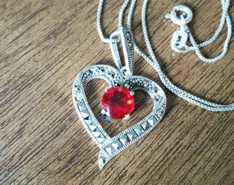 Red Jeweled Marcasite Sterling Silver Heart Necklace  Valentines Day Gift