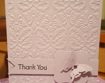 Mauve Butterfly Thank You Handmade Card